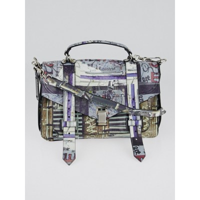 Proenza Schouler Graffiti Print Leather Medium PS1 Satchel Bag