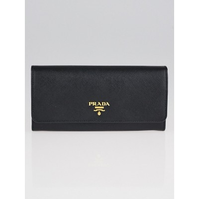 Prada Black Saffiano Metal Leather Continental Wallet 1M1132