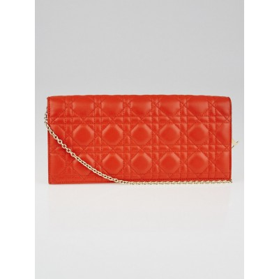 Christian Dior Orange Quilted Cannage Leather Lady Dior Clutch Bag