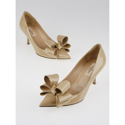 Valentino Light Beige Patent Leather Versaille Bow Pointed Toe Pumps Size 5.5/36