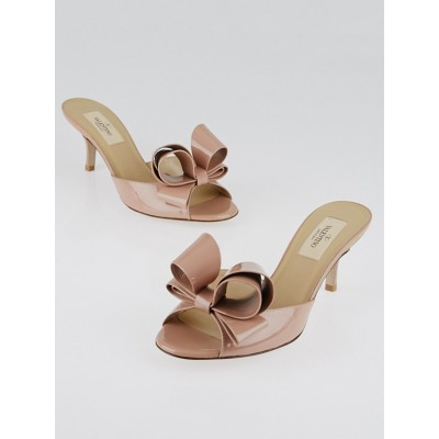 Valentino Beige Patent Leather Couture Bow Mule Peep-Toe Sandals Size 5.5/36