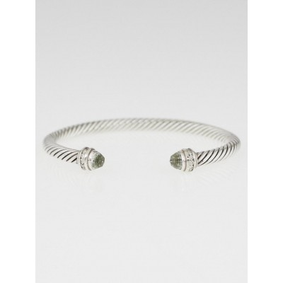 David Yurman 5mm Sterling Silver and Prasiolite with Diamonds Cable Classics Bracelet