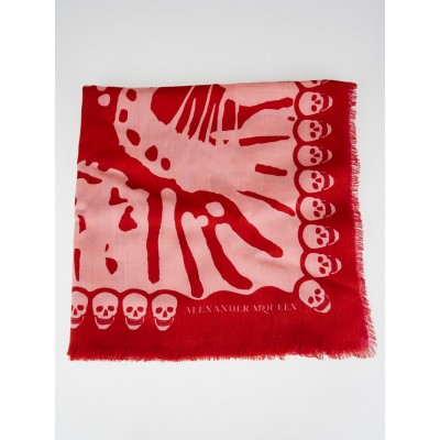 Alexander McQueen Pink/Red Wool Butterfly Double Sided Scarf