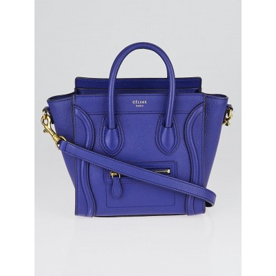 Celine Indigo Drummed Calfskin Leather Nano Luggage Tote Bag