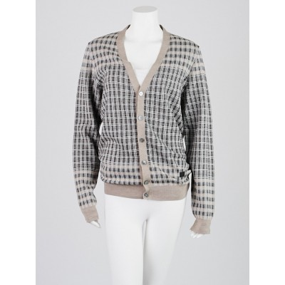 Louis Vuitton Beige Check Wood Cardigan Sweater Size M