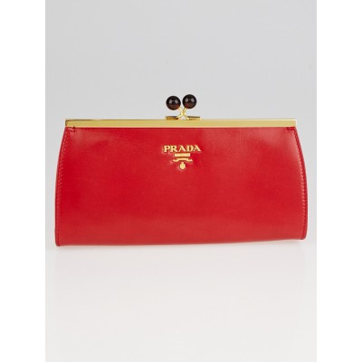 Prada Red Leather Frame Top Clutch Bag