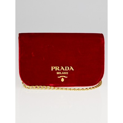 Prada Cherry Velvet Chain Shoulder Flap Bag