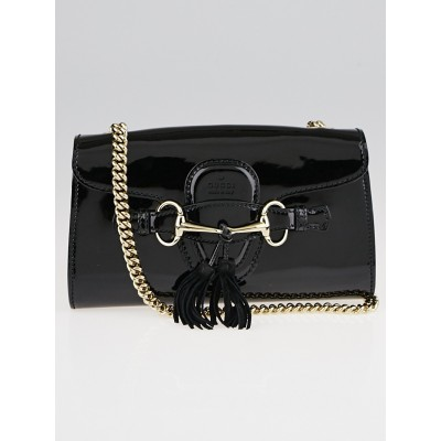 Gucci Black Patent Leather Emily Chain Small Shoulder Bag