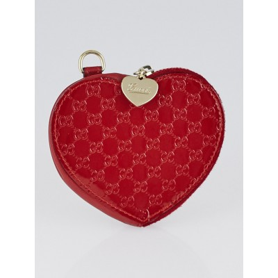 Gucci Red Microguccissima Patent Leather Heart Coin Purse