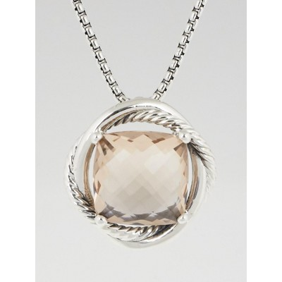 David Yurman 14mm Morganite and Sterling Silver Infinity Pendant Necklace
