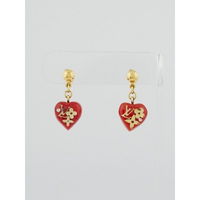 Louis Vuitton Red Resin Monogram Inclusion Bubbles Earrings