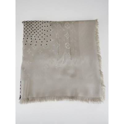 Louis Vuitton Grey Monogram Silk/Wool Pois Shawl Scarf