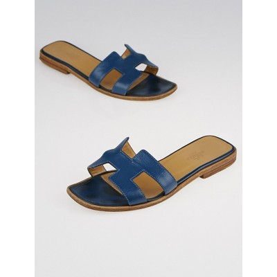 Hermes Blue Calfskin Leather Oran Flat Sandals Size 5.5/36
