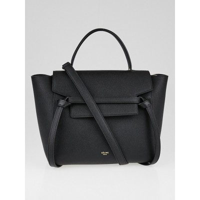 Celine Black Grained Calfskin Leather Micro Belt Bag