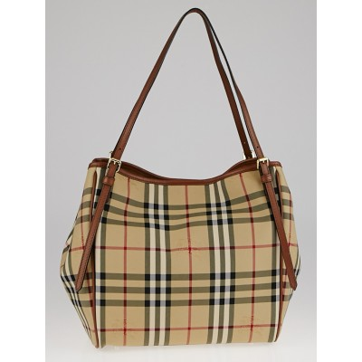 Burberry Tan Leather Horseferry Check Canvas Small Canterbury Tote Bag