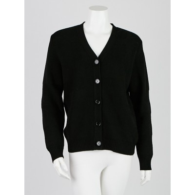 Burberry Black Wool Blend Check Cardigan Size L