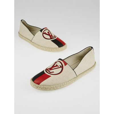 Louis Vuitton Beige Canvas Postcard Espadrille Flats Size 8.5/39