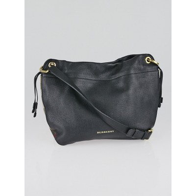 Burberry Black Leather House Check Canvas Small Bingley Bucket Bag