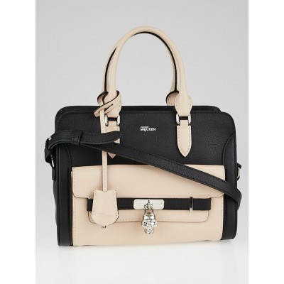Alexander McQueen Black/Pink Calfskin Leather Padlock Pocket Tote Bag
