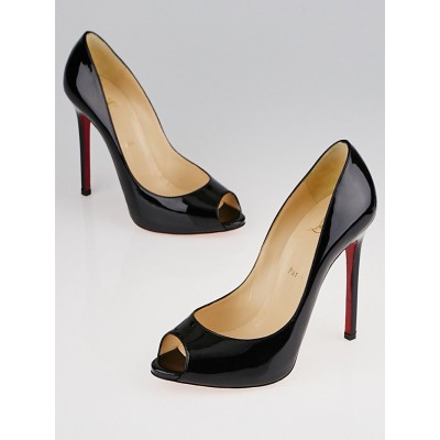 Christian Louboutin Black Patent Leather Flo 120 Peep Toe Pumps Size 8.5/39