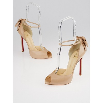 Christian Louboutin Nude Leather Dos Noeud 120 Peep-Toe Sandals Size 8.5/39