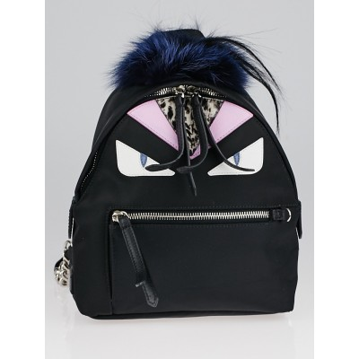 Fendi Black Nylon and Leather Monster Eyes Mini Backpack Bag