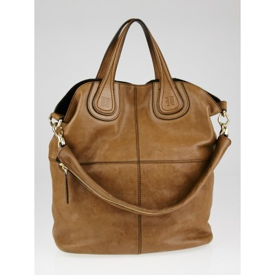 Givenchy Brown Lambskin Leather Nightingale Shopping Tote Bag