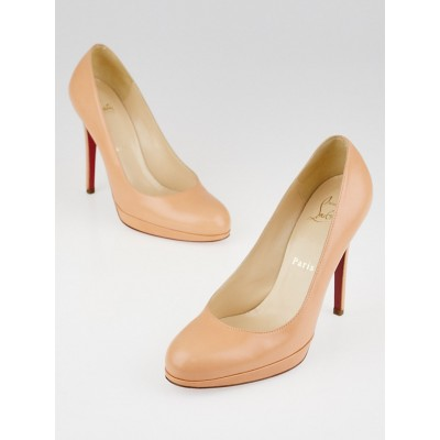 Christian Louboutin Peach Leather Round Toe Pumps Size 6.5/37