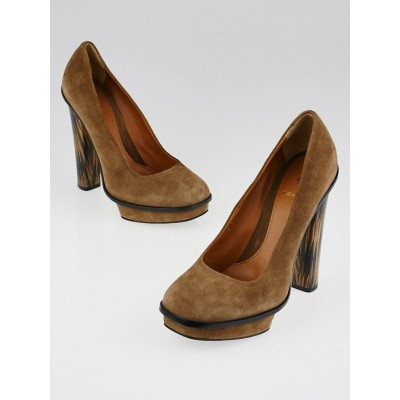 Fendi Brown Suede Platform Pumps Size 7/37.5
