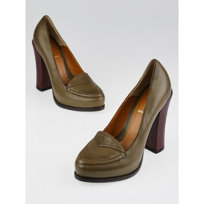 Fendi Taupe/Burgundy Leather Austen Pumps Size 7/37.5