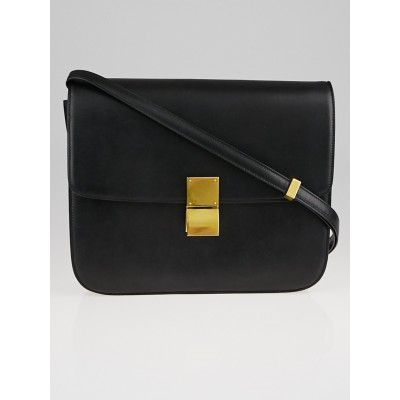 Celine Black Calf Leather Large Classic Box Flap Bag