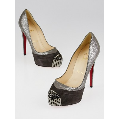 Christian Louboutin Grey Suede Leather and Steel-Toe Platform Maggie 140 Pumps Size 6.5/37