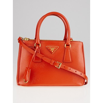 Prada Arancio Saffiano Vernice Leather Mini Tote Bag BN2316