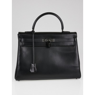 Hermes 35cm Black Box Leather Black Hardware SO Black Kelly Retourne Bag