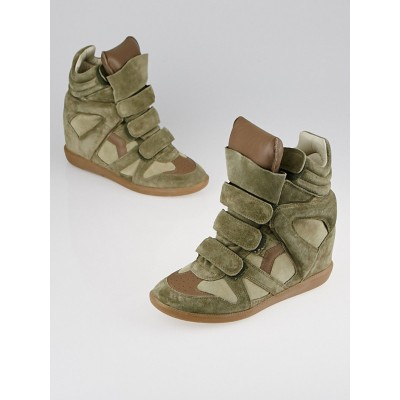 Isabel Marant Taupe Suede and Leather Bekett Over Basket Sneaker Wedges Size 9.5/40