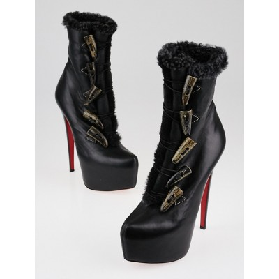 Christian Louboutin Black Leather and Shearling Oulanbator Boots Size 6.5/37