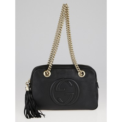 Gucci Black Pebbled Leather Soho Chain Shoulder Bag