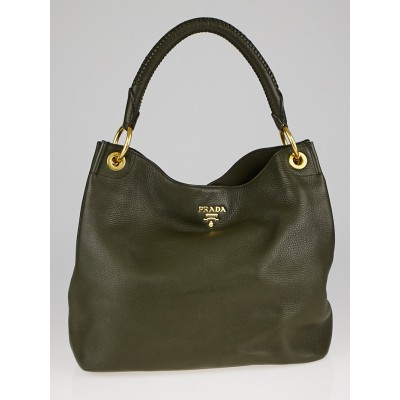 Prada Dark Green Vitello Daino Leather Large Hobo Bag BR4829
