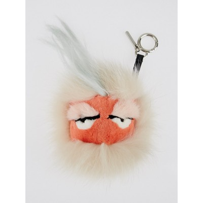 Fendi Pink and Blue Fur Furbet Bag Bug Key Chain and Bag Charm