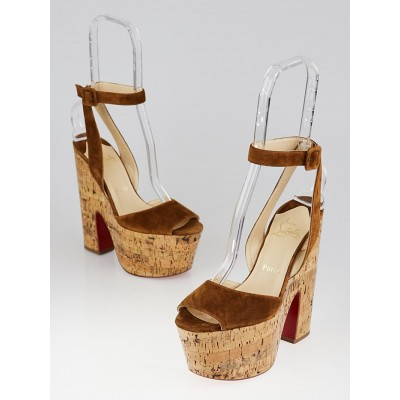 Christian Louboutin Brown Suede and Cork Super Dombasle Wedge 160 Sandals Size 6.5/37
