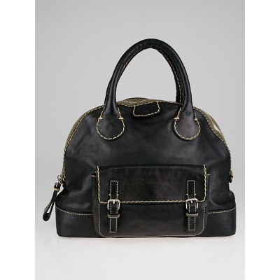 Chloe Black Leather Edith Large Bowler Satchel Bag