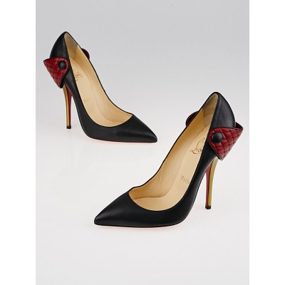 Christian Louboutin Black/Red Leather Huguetta 120 Pumps Size 7/37.5