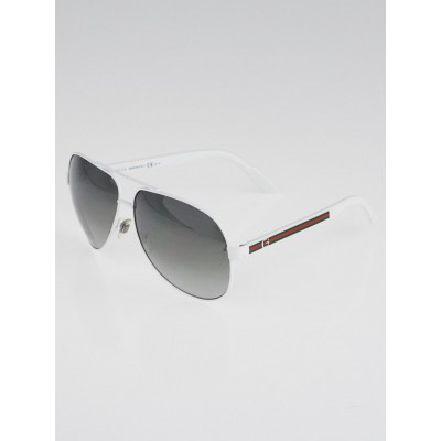 Gucci White Metal Frame Aviator Sunglasses - 1951