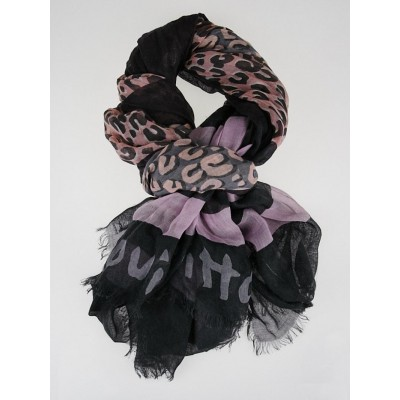 Louis Vuitton Purple and Grey Cashmere/Silk Stephen Sprouse Leopard Stole Scarf