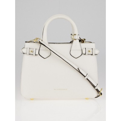 Burberry White Leather House Check Canvas Small Banner Tote Bag
