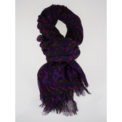 Louis Vuitton Fuchsia and Purple Cashmere/Silk Stephen Sprouse Leopard Stole Scarf