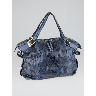 Gucci Blue Python Bamboo Bar Large Shoulder Bag