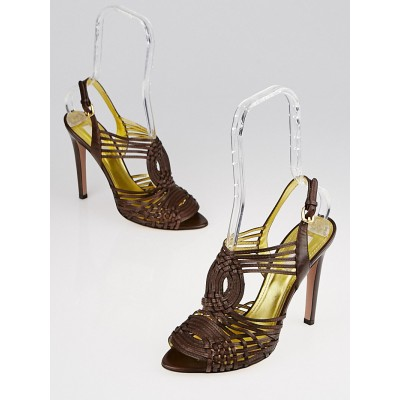 Prada Brown Leather Strappy Sandals Size 8.5/39