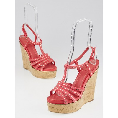 Christian Dior Coral Suede Antica Cork Wedge Sandals Size 9/39.5