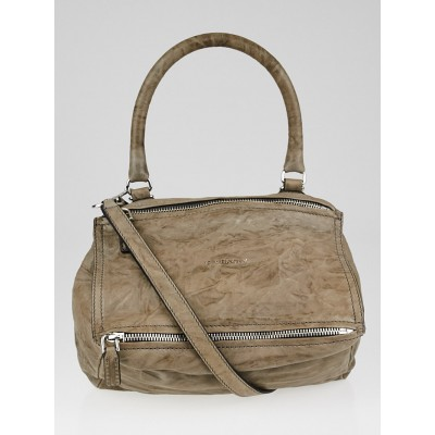 Givenchy Charcoal Wrinkled Sheepskin Leather Small Pandora Bag